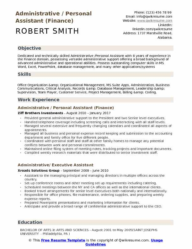 administrative personal assistant resume samples qwikresume secretary sample pdf project Resume Personal Secretary Resume Sample