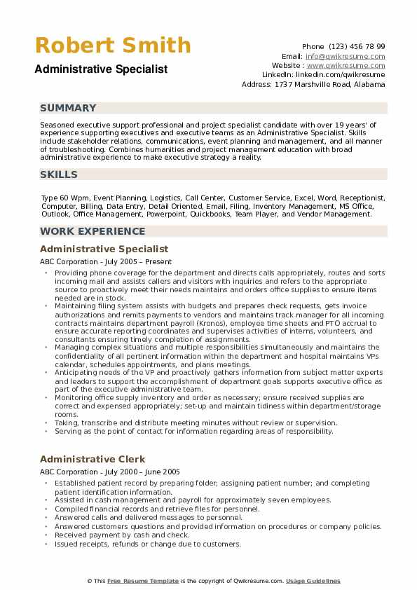 administrative specialist resume samples qwikresume pdf embedded testing spacing Resume Administrative Specialist Resume