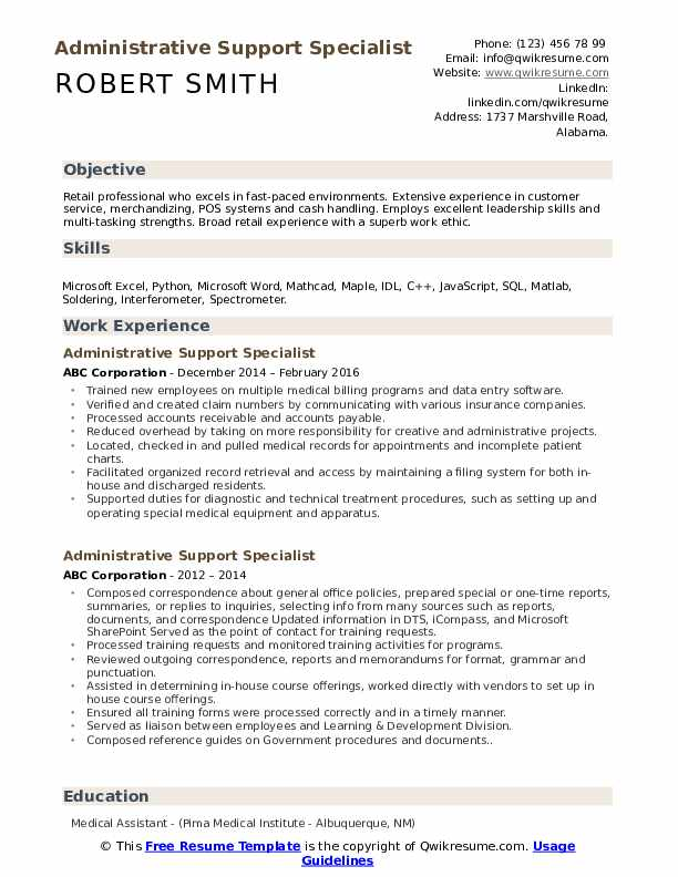 administrative support specialist resume samples qwikresume pdf entry level personal Resume Administrative Specialist Resume