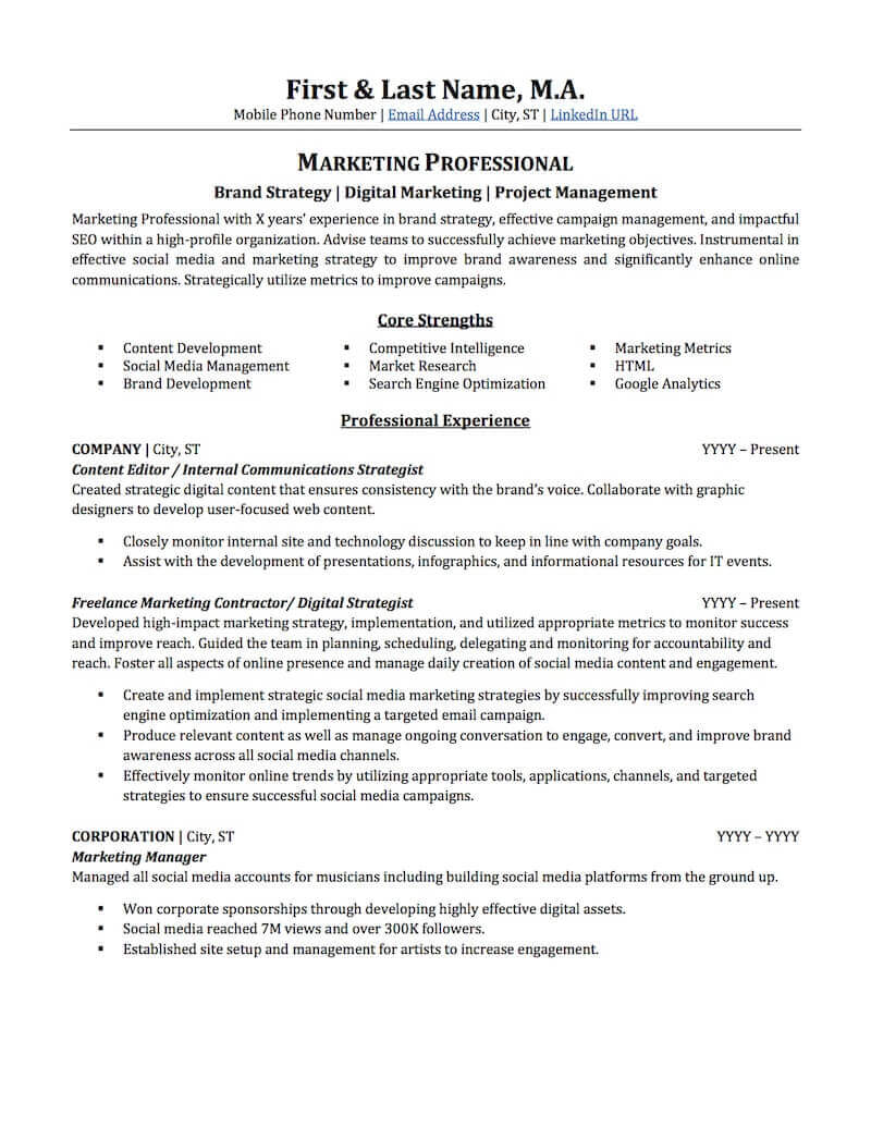 advertising marketing resume sample professional examples topresume experience page1 free Resume Experience Sample Resume