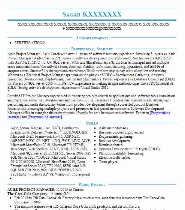 agile project manager resume example resumes livecareer program talk social work examples Resume Agile Program Manager Resume