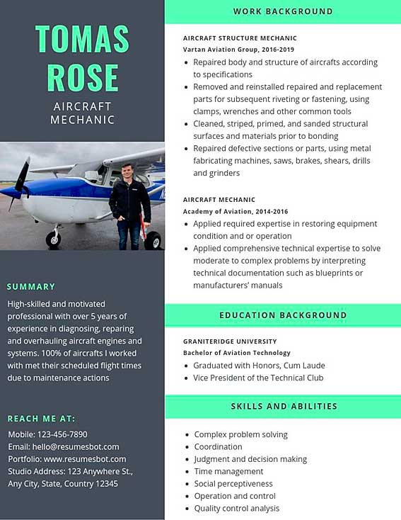 aircraft mechanic resume samples and tips pdf templates resumes bot aviation sample Resume Aviation Mechanic Resume Sample