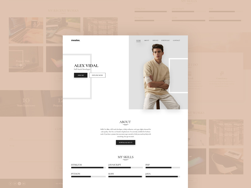 alex personal portfolio resume template free repo and gas station assistant manager easy Resume Resume Portfolio Template Free
