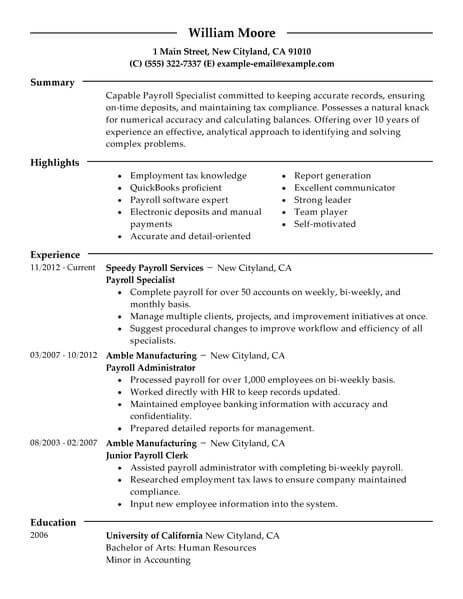 amazing accounting finance resume examples livecareer payroll accountant specialist Resume Payroll Accountant Resume Examples