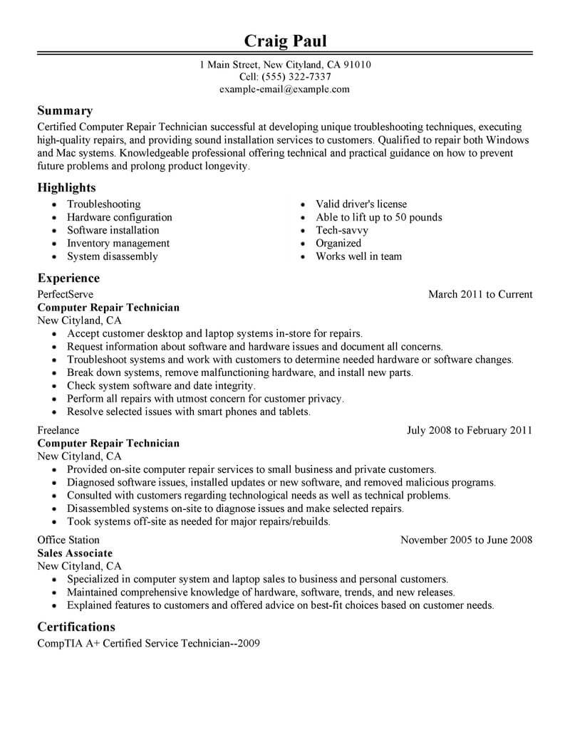 amazing computers technology resume examples livecareer good with on computer repair Resume Good With Computers On Resume