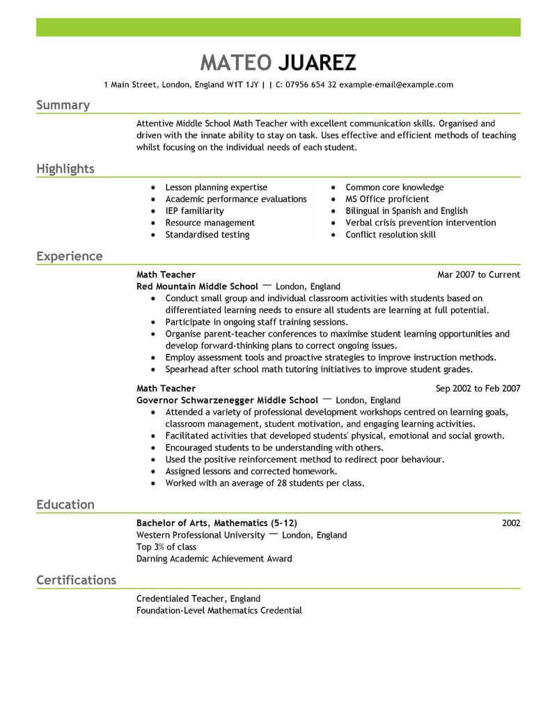 amazing education resume examples livecareer maths teacher word format emphasis strong Resume Maths Teacher Resume Word Format