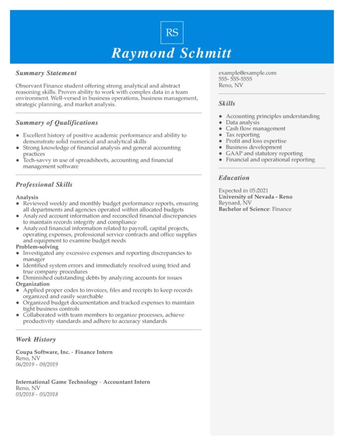 amazing finance resume examples livecareer objective for intern managerial funcd scaled Resume Objective For Finance Resume
