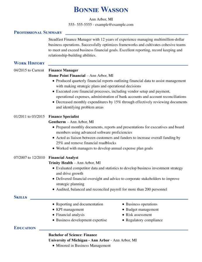 amazing finance resume examples livecareer objective for manager executive chrono scaled Resume Objective For Finance Resume