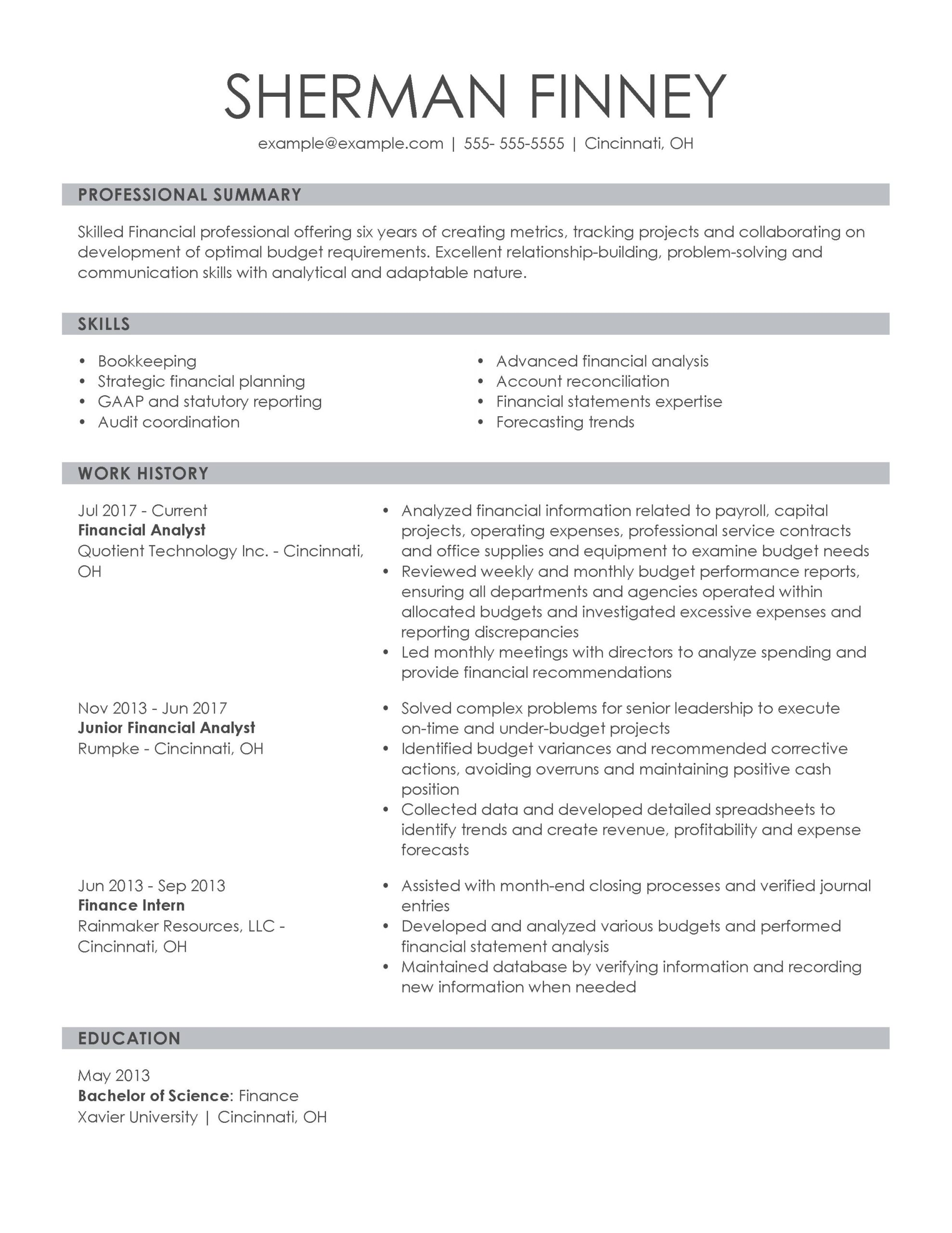 amazing finance resume examples livecareer sample for entry level job financial analyst Resume Sample Resume For Entry Level Finance Job