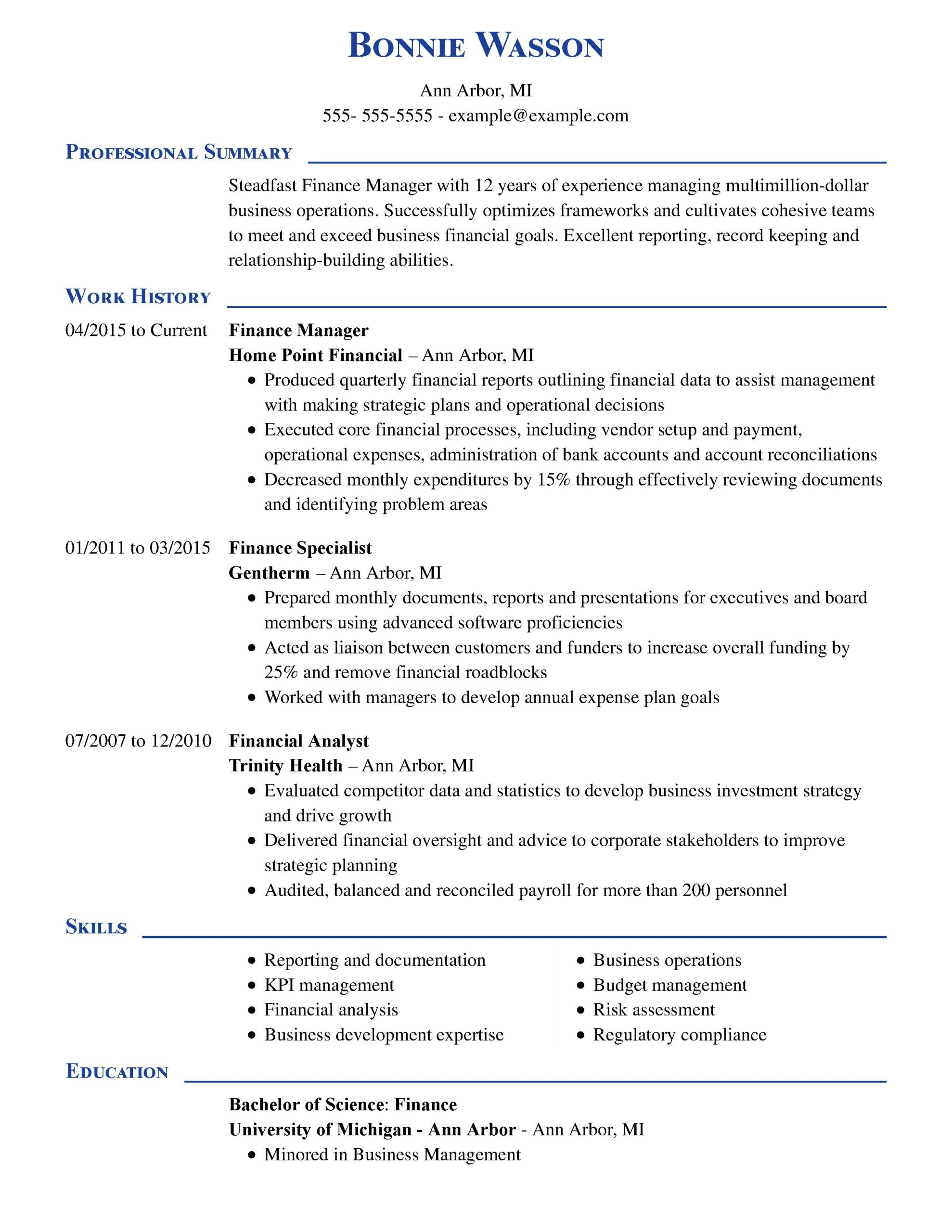 amazing finance resume examples livecareer sample for entry level job manager executive Resume Sample Resume For Entry Level Finance Job