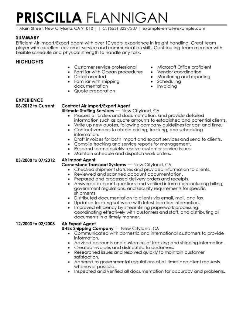 amazing government military resume examples livecareer samples air import export agent Resume Government Resume Samples