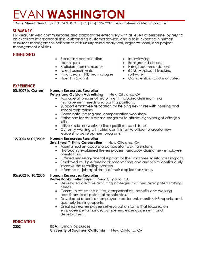 amazing human resources resume examples livecareer rights objective recruiting and Resume Human Rights Resume Objective