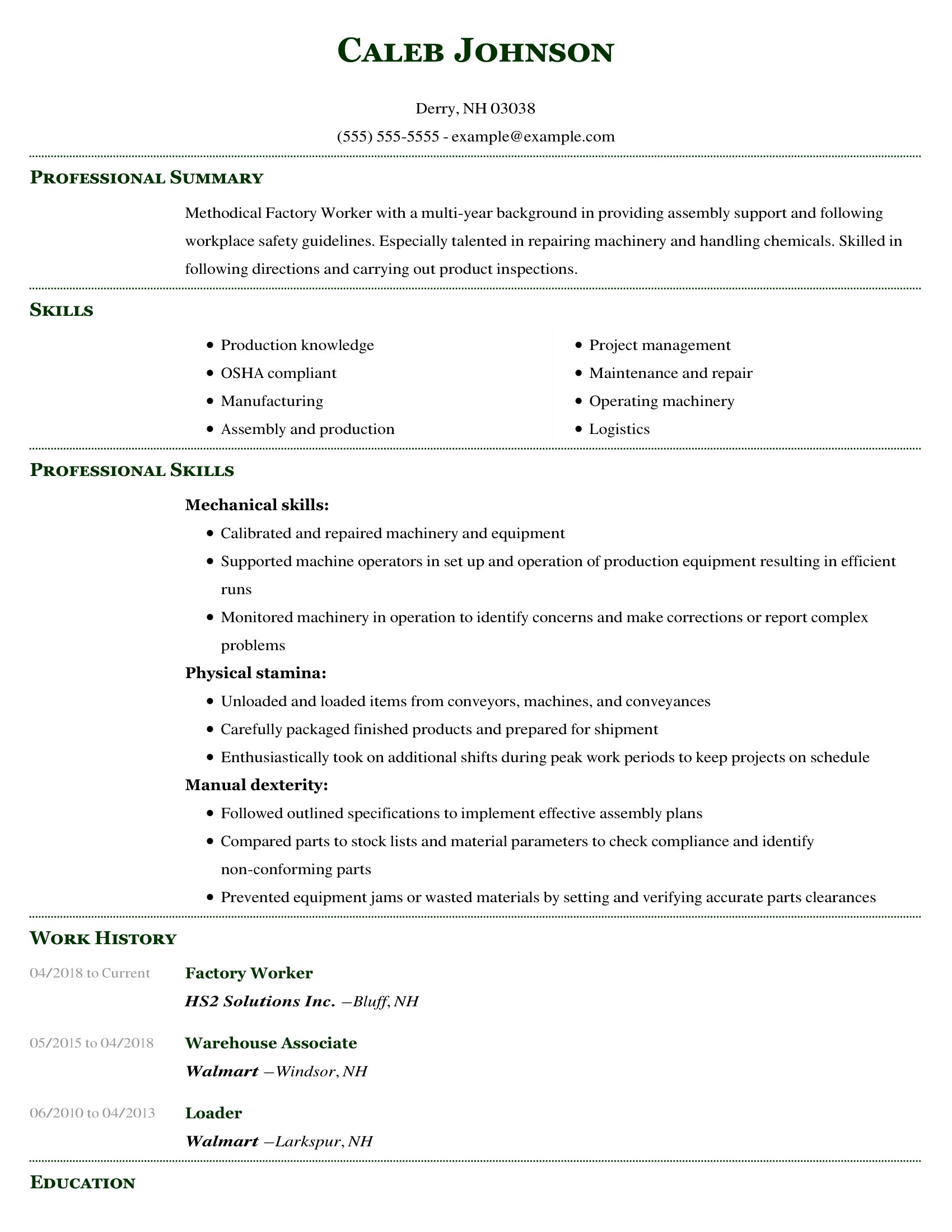 amazing production resume examples livecareer skill set format factory worker building Resume Skill Set Resume Format