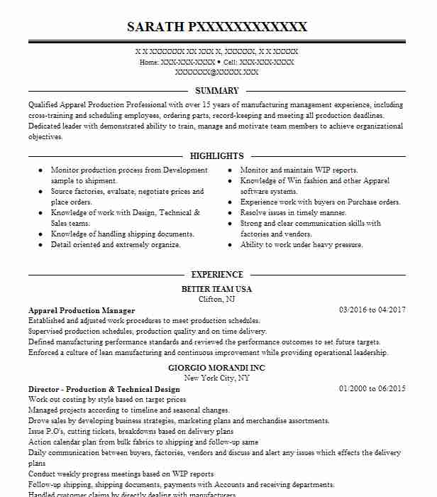apparel production manager resume example livecareer fashion coordinator contoh terkini Resume Fashion Production Coordinator Resume
