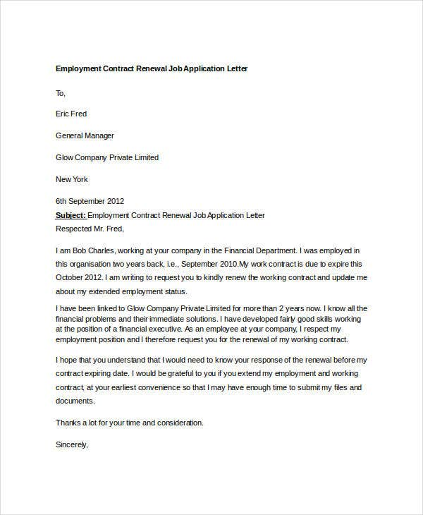 application letter employment contract renewal job astonishing request for sampleicture Resume Employee Contract Extension Letter Resume
