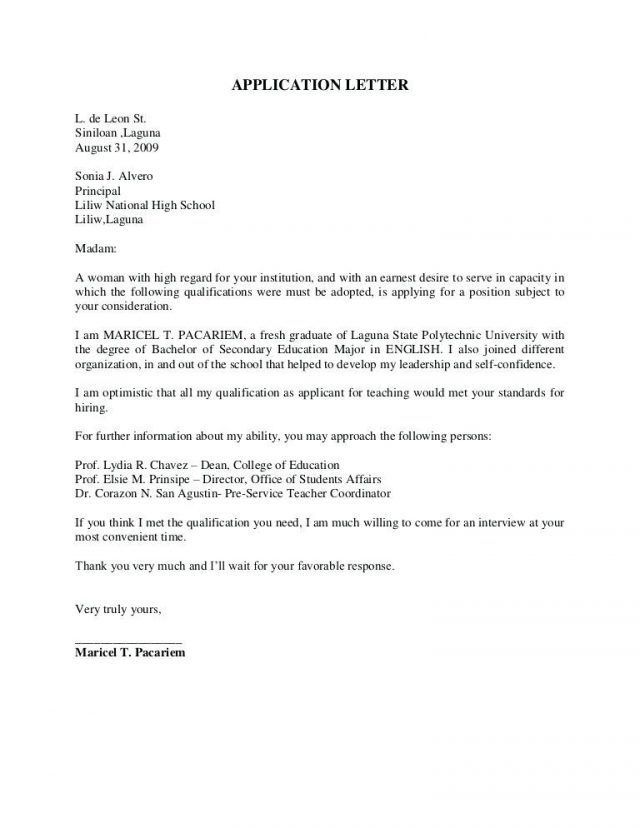 application letter sample for fresh graduate computer science with fo letters cover Resume Cover Letter For Resume For Fresh Graduate