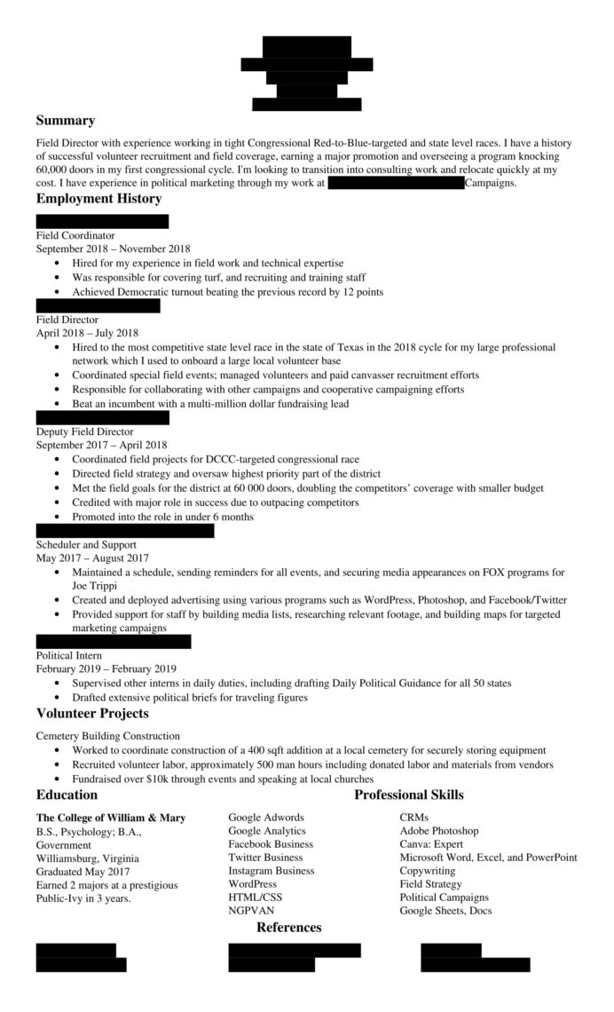 applying to political marketing fundraising consulting agencies does my resume stack up Resume Canvasser Job Description For Resume