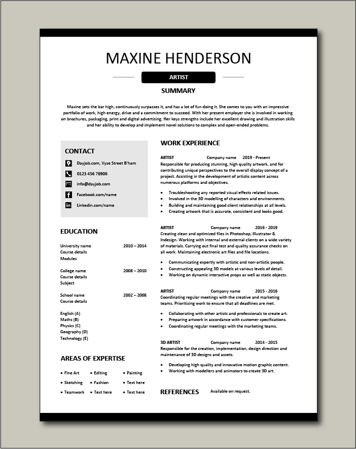 artist resume artistic drawing example templates job description fashion art student Resume Art Student Resume Sample