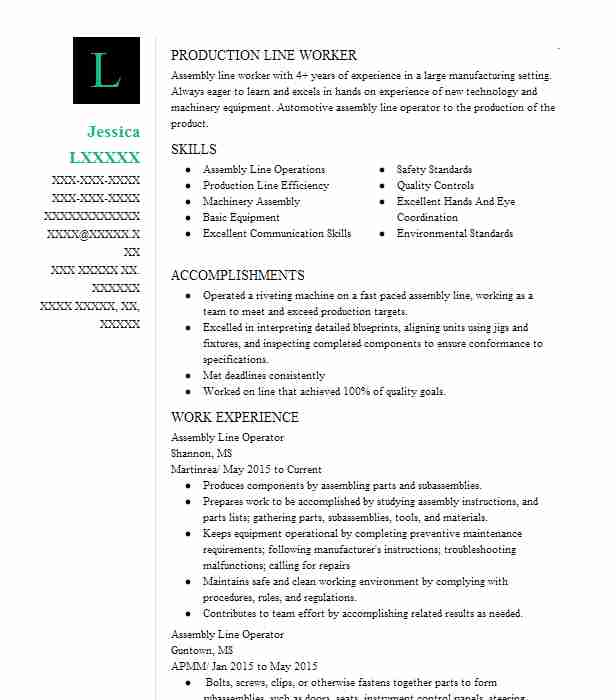 assembly line operator resume example resumes livecareer worker sample ibm bpm developer Resume Assembly Line Worker Resume Sample