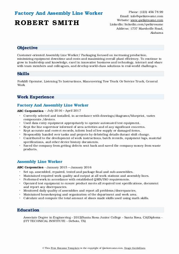 assembly line worker resume objective new samples elfaro sample of document control Resume Assembly Line Worker Resume Sample