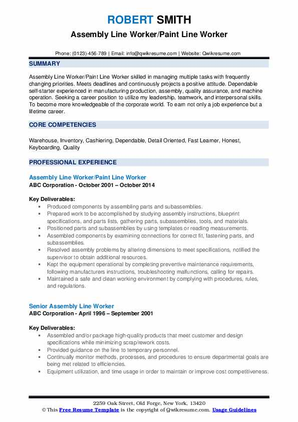 assembly line worker resume samples qwikresume sample pdf document control example allied Resume Assembly Line Worker Resume Sample