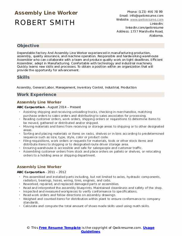 production line worker resume examples downloads job samples assembly sample objective Resume Assembly Line Worker Resume Sample