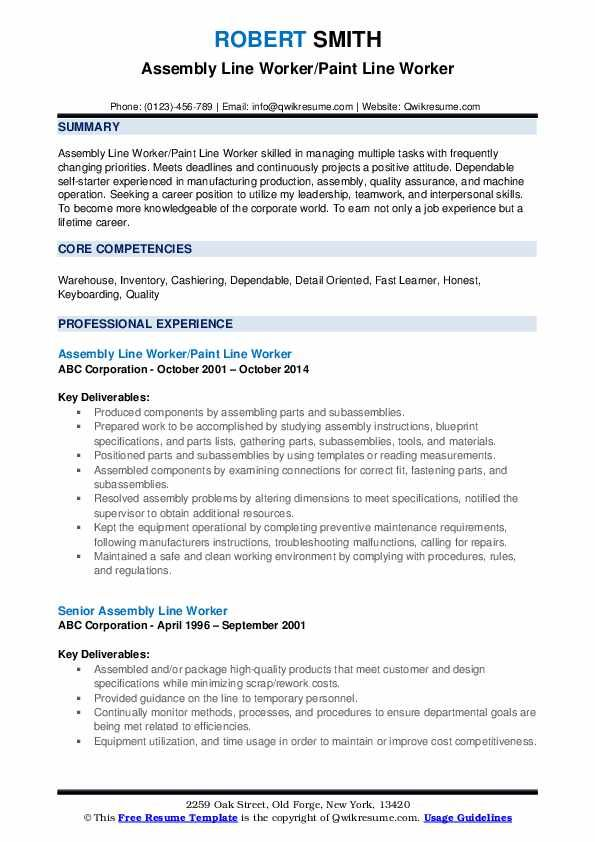 assembly worker resume line job description examples summary for production Resume Resume Summary Examples For Production Worker
