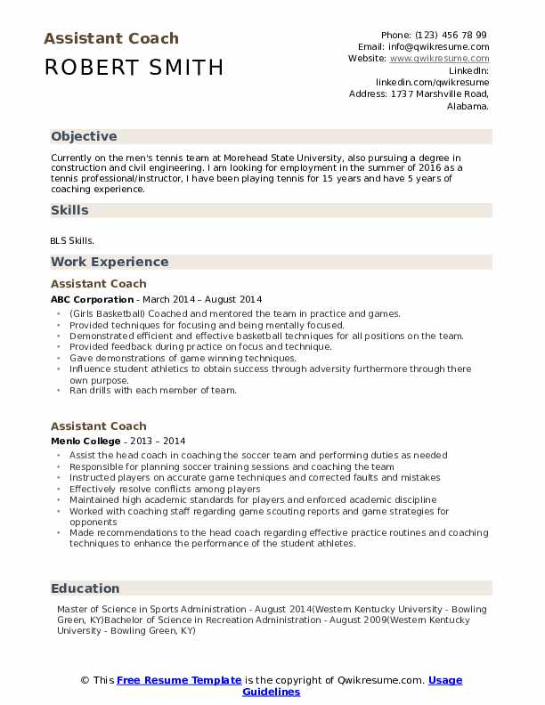 assistant coach resume samples qwikresume objective for coaching pdf vault over fast and Resume Objective For Coaching Resume