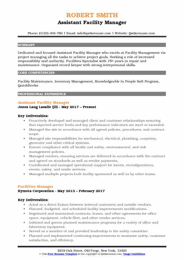 assistant facility manager resume samples qwikresume building maintenance pdf experience Resume Building Maintenance Manager Resume