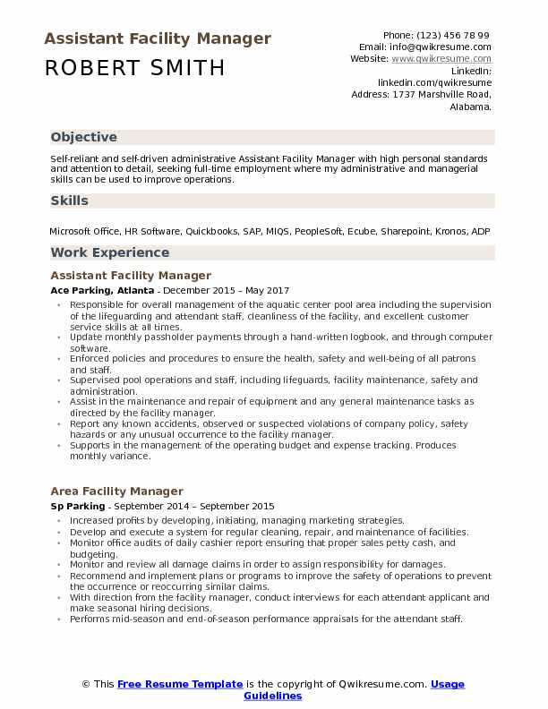 assistant facility manager resume samples qwikresume building maintenance pdf name title Resume Building Maintenance Manager Resume