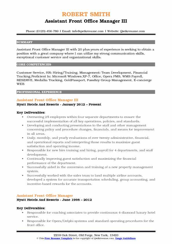 assistant front office manager resume samples qwikresume executive pdf builder definition Resume Front Office Executive Resume Download