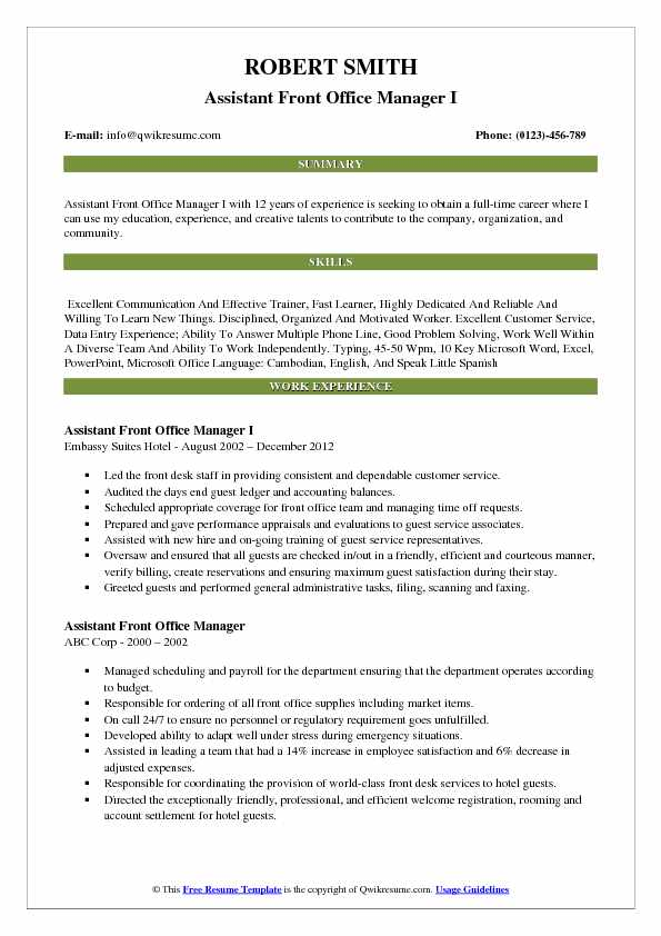 assistant front office manager resume samples qwikresume executive pdf hospice Resume Front Office Executive Resume Download