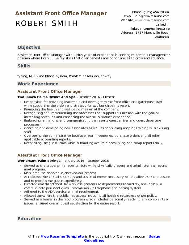 assistant front office manager resume samples qwikresume executive pdf nlp data scientist Resume Front Office Executive Resume Download