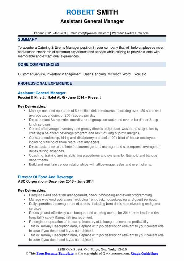 assistant general manager resume samples qwikresume for position pdf file name companion Resume Resume For General Manager Position