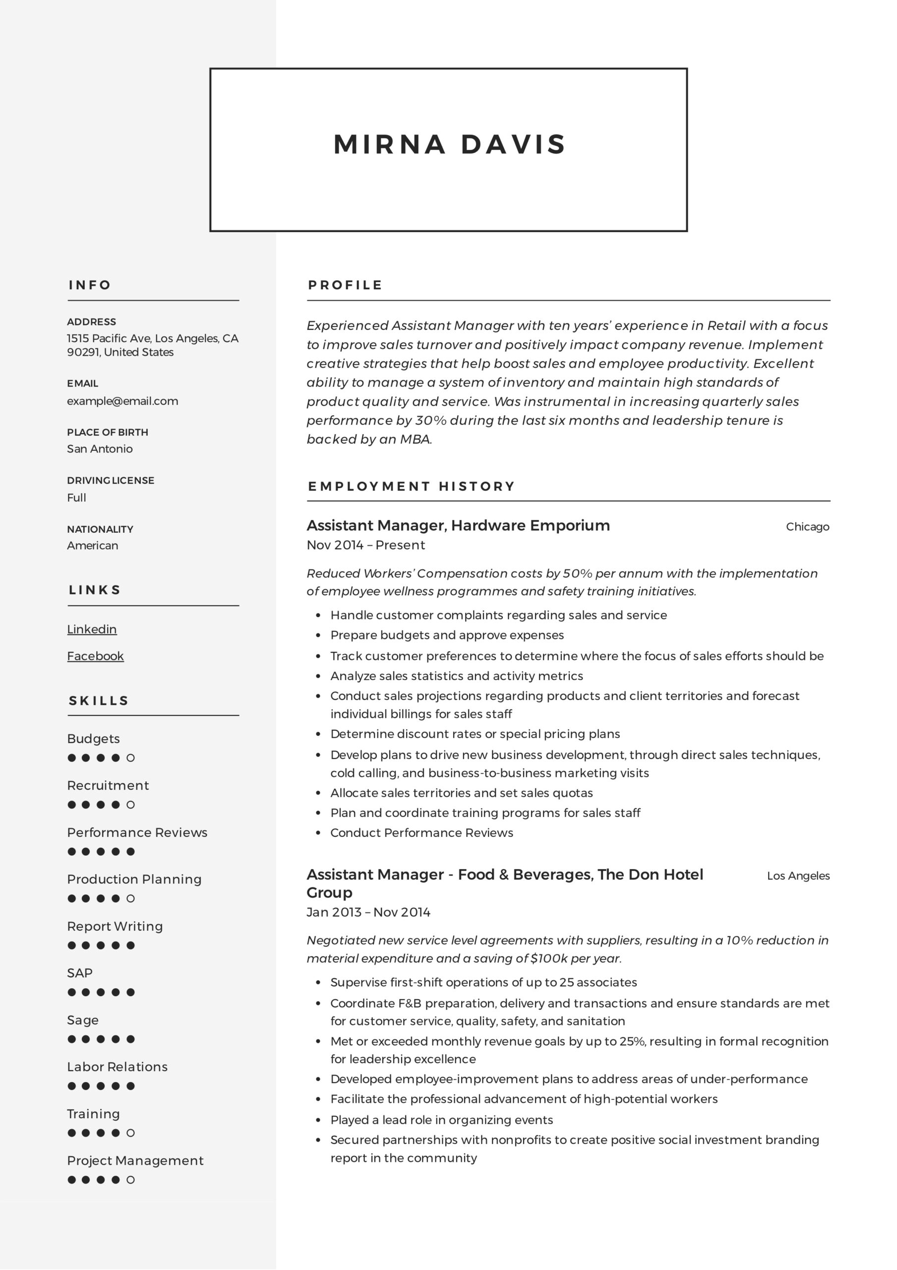 assistant manager resume writing guide samples pdf retail mirna builder for college Resume Retail Assistant Manager Resume
