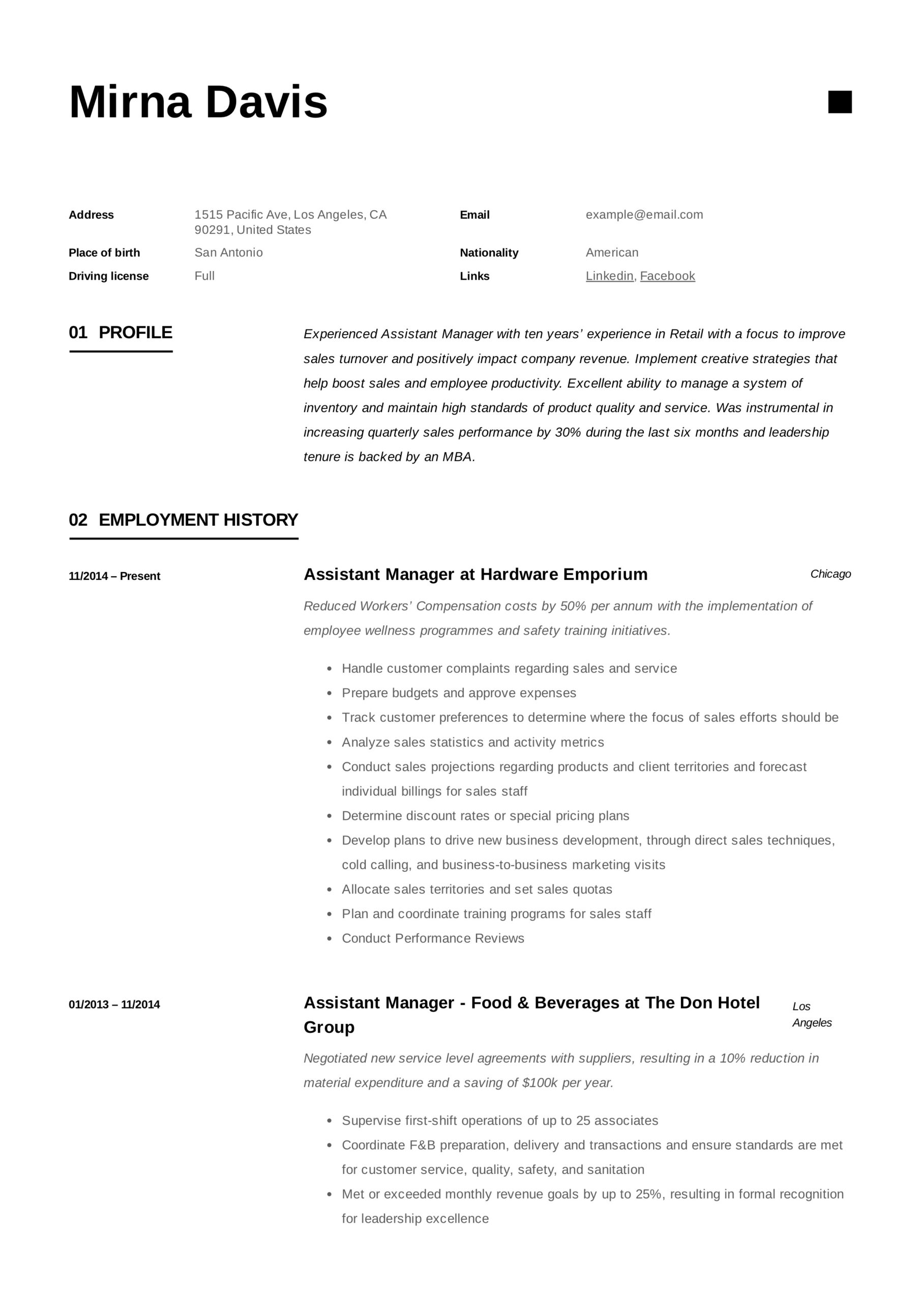 assistant manager resume writing guide samples pdf retail mirna format for food and Resume Retail Assistant Manager Resume