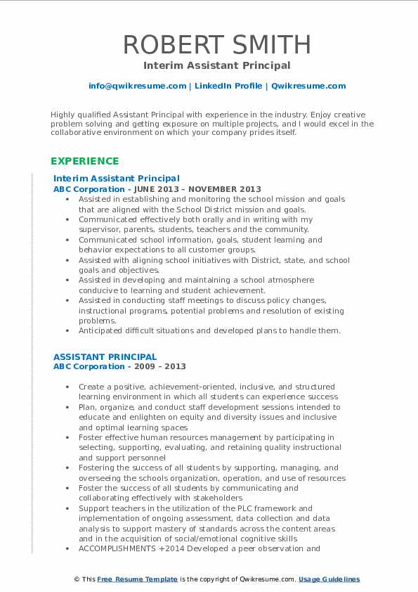 assistant principal resume samples qwikresume cover letter pdf certification section Resume Assistant Principal Resume Cover Letter