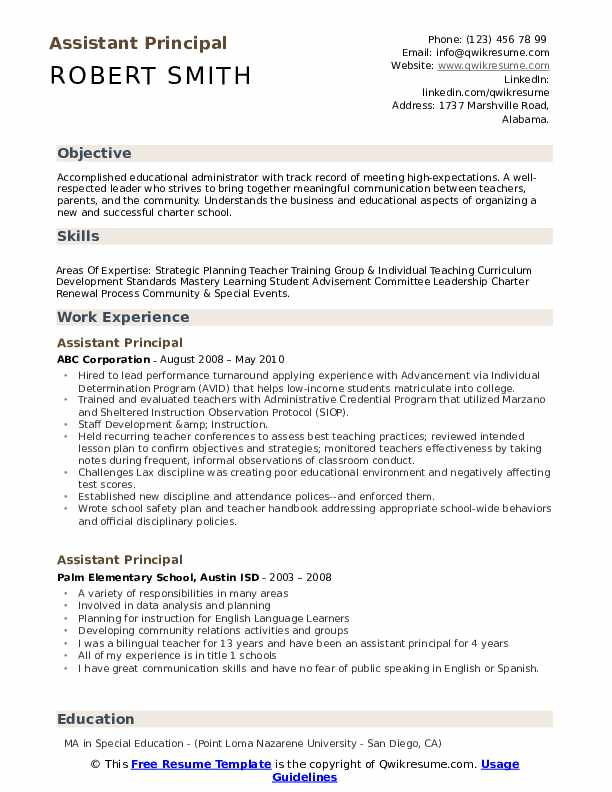 assistant principal resume samples qwikresume objective for pdf etsy template small Resume Objective For Assistant Principal Resume
