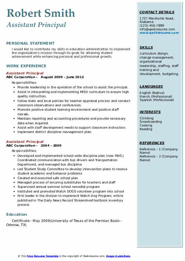 assistant principale samples qwikresume freees and cover letters templates sample for Resume Assistant Principal Resume Cover Letter