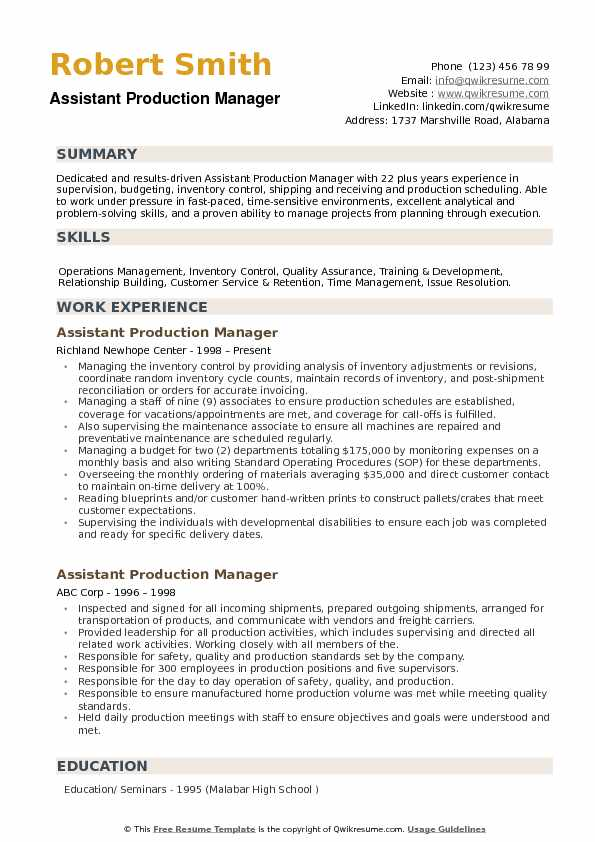 assistant production manager resume samples qwikresume pdf for unskilled worker template Resume Production Manager Resume