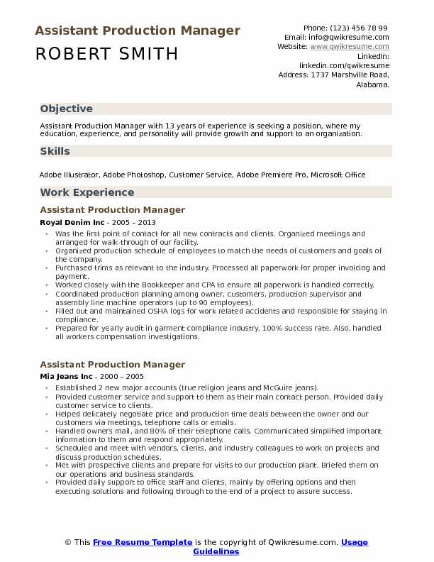 assistant production manager resume samples qwikresume pdf template free infographic Resume Production Manager Resume