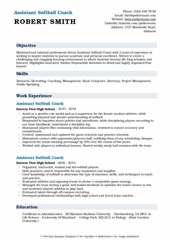 assistant softball coach resume samples qwikresume objective for coaching pdf hospitality Resume Objective For Coaching Resume