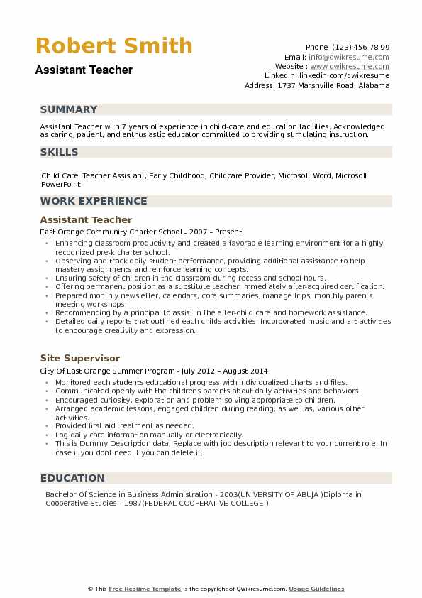 assistant teacher resume samples qwikresume summary examples for pdf first job template Resume Resume Summary Examples For Teacher Assistant