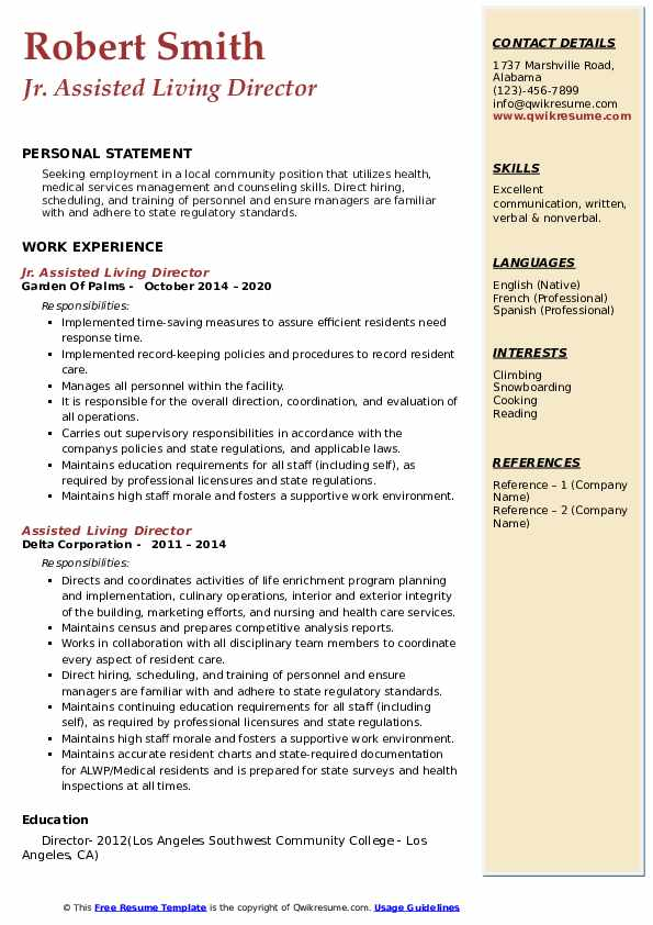 assisted living director resume samples qwikresume duties pdf verb tense format simple Resume Assisted Living Duties Resume