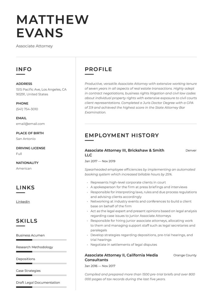associate attorney resume writing guide templates telecommunications michelle obama Resume Associate Attorney Resume