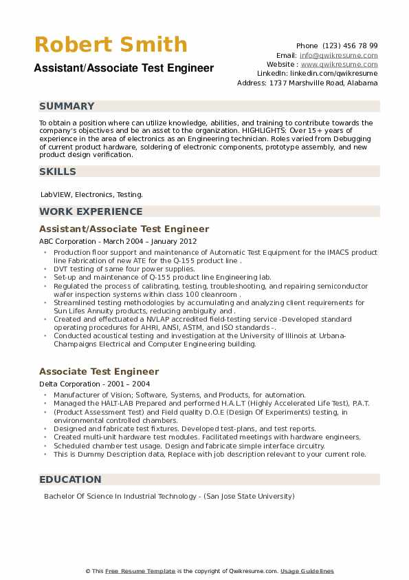 associate test engineer resume samples qwikresume electronics pdf writing services Resume Electronics Test Engineer Resume