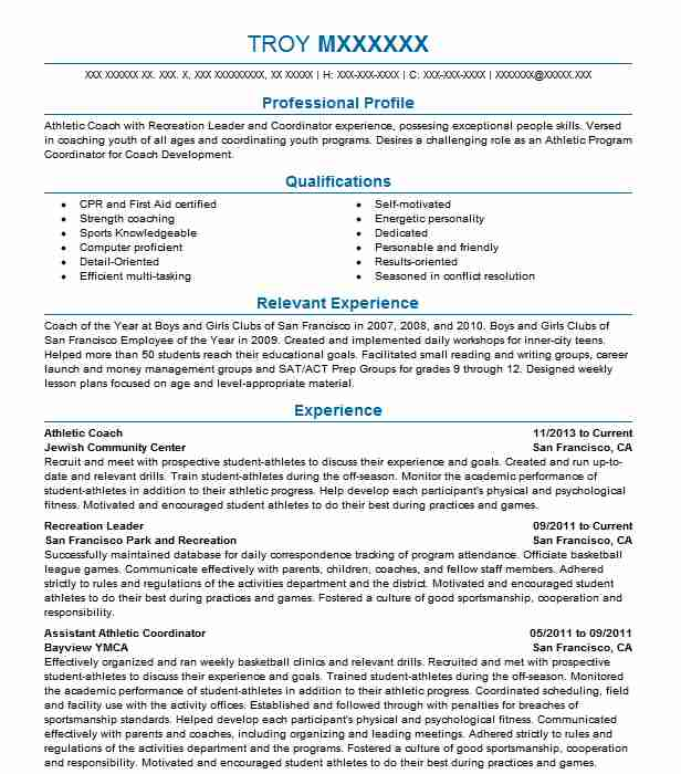 athletic coach resume example sports resumes livecareer objective for coaching heb Resume Objective For Coaching Resume