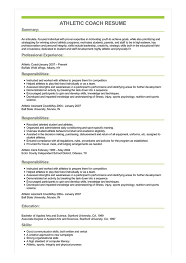 athletic coach resume great sample objective for coaching image fashion retail cognos tm1 Resume Objective For Coaching Resume