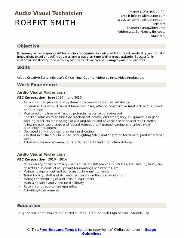 audio visual technician resume samples qwikresume voice and data pdf customer service Resume Voice And Data Technician Resume