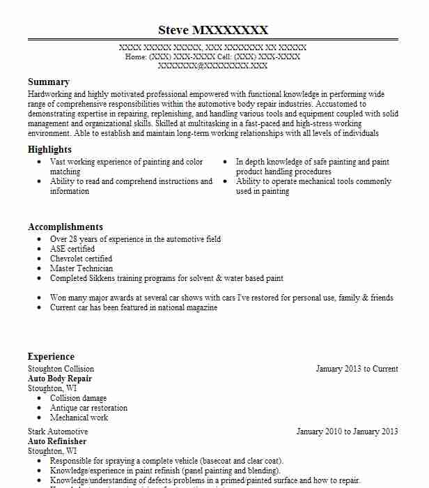 auto body repair resume example repairer resumes livecareer objective examples office Resume Auto Body Resume Objective Examples